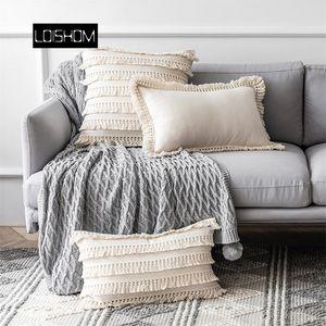 Beige Linen Cotton Tassels Pillow Cover Round Decorative Cushion Cover Home Decor Throw PillowCase 45x45cm 30x50cm LJ201216
