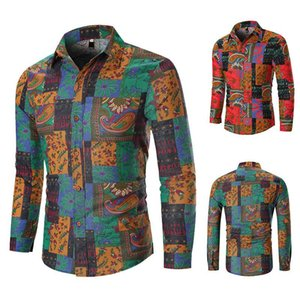 New men's plus-size patchwork slim long sleeve print shirt European size thin casual floral shirt High cost performance clothes