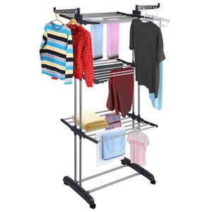 3Tier Stainless Laundry Organizer Folding Drying Rack Clothes Dryer Hanger Stand