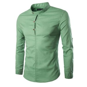 2020 Mens Fashion Casual Solid Stand Collar Long Sleeve Tops Button Shirt Tops
