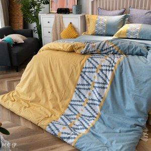 Conjunto de algodão de cama 2020 Nova listra escovada pesada Mordern Cama Set Engrossar Tecido de Algodão Capa de edredão + folha plana + fronha1