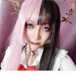 Wig girl air Qi Liu Hai black powder two-color long straight hair Princess cut Ji hair style chemical fiber wig head