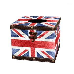Vintage Tissue Box Europäischen Stil Leder Papierhalter Union Flag Servietkin Fall für Startseite Auto Restaurant1