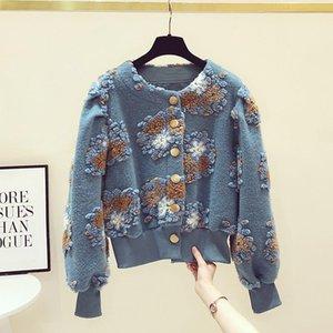 Retro Three-Dimensional Jacquard Sweater Coat Womens 2020 Autumn Winter New Lantern Sleeve Thickened Fleece Knit Cardigan Jacket