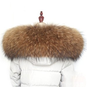 Winter warm fur collar scarf real raccoon 100% natural fur scarf fashion shawl warm coat coat accessories L10