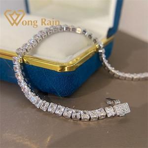 Wong Rain 925 Sterling Silver creó Moissanite Gemstone Bangle Charm Pulsera de boda Joyería Fina Venta al por mayor Drop Shipping Q1121