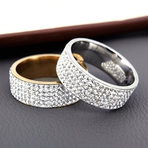 Hot Sale Vintage Retro Style Steel Ring for Women 5 Row Clear Crystal Jewelry Fashion Stainless Steel Engagement Wedding Rings