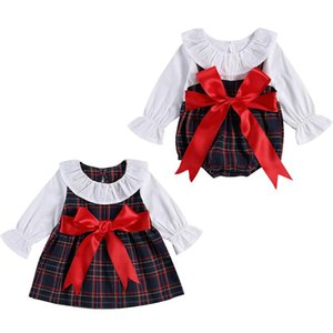 FOCUSNORM Christmas 0-5Y Sister Baby Girls Romper Dress Peter Pan Collar Long Sleeve Big Bow Plaid Print Outfits One Piece
