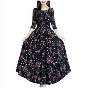 Women Long Maxi Dress Summer Floral Print Bohemian Beach Dress Casual Short Sleeve Bandage Party Plus Size Vestidos LR2