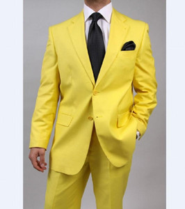 Custom Made Groomsmen Notch Lapel Groom Tuxedos Yellow Mens Suits Wedding Best Man (Jacket+Pants+Tie+Hankerchief) B766