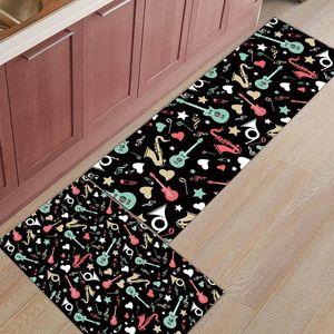 2Pcs Set Music Rock Guitar Doodling Kitchen Mat Bath Carpet Floor Mat Home Entrance Doormat Bedroom Living Room Floor Mats Rug