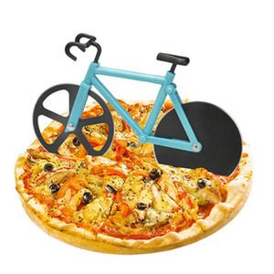 Creative Bicycle Pizza Cutter Cutter Gâteau Hobbing Cutter Dual Inox En acier inoxydable Voyageur Pizza Cutter Pizza Couteaux Pâtisserie Outils de cuisson DHD3432