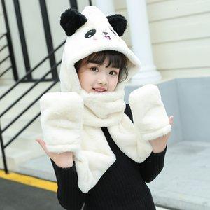 New gloves, hats, necks, warm three piece rabbit hair cartoon baby embroidered children's scarf in autumn and winter of EJJC