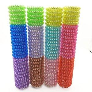 Farbgröße 4cm Elastische Haarbänder Spiralform Pferdeschwanz Krawatten Gummi Seil Telefondraht Q BBYXKY