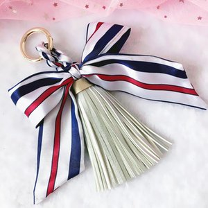 Cute Bow Knot Keychain with PU Leather Tassels for Bag Car Ornaments Key Ring Charm Laveros Porte Clef Key Chain Jewelry EH329