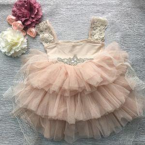 Retail Gorgeous Rhinestone Sashes Girl Evening Dress Baby Girl Lace Sling Princess Tutu Dress Kids Formal Costume Q1118