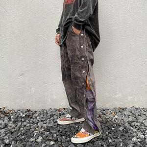 Ключевые слова на русском: High Street Side Button Countwean Print Замшевые мешковатые брюки мужские стрижки прямые свободные повседневные брюки хип-хоп негабаритные брюки 1120