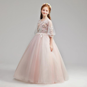 Girl Princess skirt flower child wedding dress fluffy yarn skirt children host Christmas show long sleeves autumn and winter