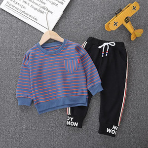 wholesale Children's clothing boy suit shirt+pants set children's circular collar striped long-sleeved sweater two-piece 201202