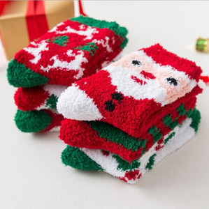 Christmas women warm socks soft cosy sock cute girls cartoon Santa Claus reindeer christmas trees decoration coral fleece stocking gift sock