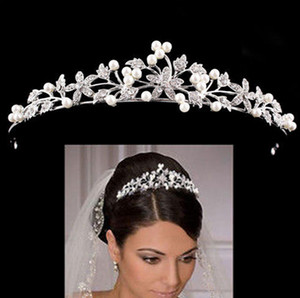 12pcs Glitter Rhinestone and Pearl Tiara Headband Simulated Jewelry Hair Crown Accessories for Bride Princess Birthday Party DIA 13cm