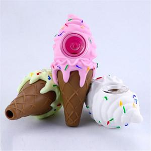 Pipa de mano de silicona de diseño de helados para hierbas secas Pipas de fumar de silicona BONG 3 colores