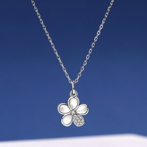 S925 Sterling Wholesale Silver Silver Jewelry 925 Daily Zircon Flower Necklace InS Super Fairy Necklace Stall Hot Venta