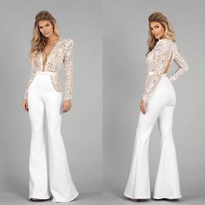 Sexy Backless 2021 Bridal Jumpsuit A Line Wedding Dresses Lace Long Sleeve Deep V Neck Bridal Gowns pant suit Boho vestido de novia