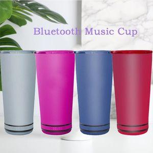 8 cores novo estilo 18oz música bluetooth speaker copo de aço inoxidável aço inoxidável copo à prova d 'água portátil caneca de parede dupla para presente de natal