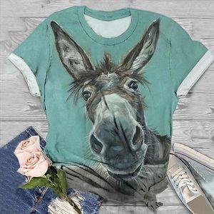 2020 Summer Donkey Bird Print Tshirt Plus Size Women T shirts Short Sleeve 3D Animal Print O Neck Tops Tee T Shirt