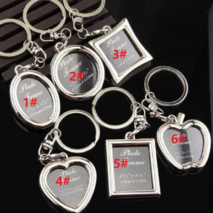 Photo Frame Round Heart Apple Oval shape Alloy Keychain Key Chain Keyring Car Keychains Couples Keyring Business Gift Party Favor RRE3132