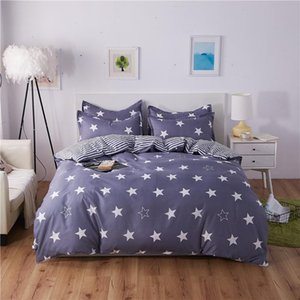 Modern Simplicity Grey Bedding Set Super Warm Comfortable Breathable Duvet Cover Set 4 Pcs Reactive Print Stars Bed Cover