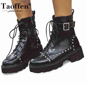 Taoffen Women Ankle Boots Fashion Metal Buckle Rivets Gothic Shoes Women Winter Casual Wedges Platform Boots Size 33-43