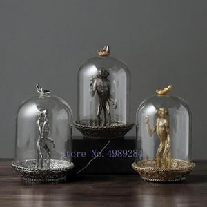 الشمال الإبداعي الراتنج الرجعية قرد محاكاة الحيوان غطاء الزجاج الحرف الحلي الحديثة ديكورات المنزل التماثيل الملحقات