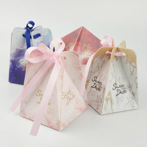 50pcs Wedding Candy Box With Ribbon Candy Packaging Boxes Wedding Souvenirs Birthday Party Christmas Baby Shower Favors Gift Box