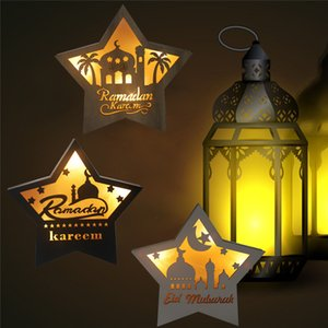 Islam Ramadan Wooden Table Decoration Pentagram LED Warm Light Eid Mubarak Muslim Table Top Ornaments for Home Party Supplies GWA3578