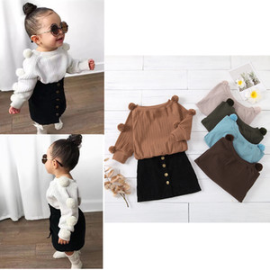 Wholesale INS New Autumn Toddler Kids Girls Clothes Suits Fall Winter Ball Long Sleeved Tshirts + Skirts Suit Spring Long Sleeves Outfits