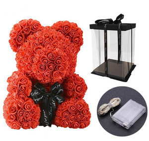 40cm Lovely Bear Of Roses With Led Gift Box Teddy Bear Rose Soap Foam Flower Artificial New Year Gifts For Valentine's Day Gift bbyehZy