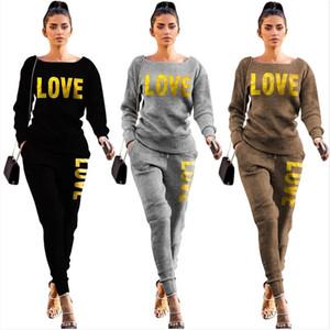 Kadın Eşofman Tasarımcısı Örme Kazak Kazak Pantolon Kıyafet Iki Parçalı Giyim Seti Kazak Legging Pantolon Takım S-2XL 2021 E122106