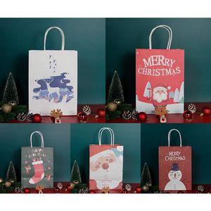 21*15*8cm Christmas Gifts Bag Gift Wrap Candy Bag Apple Hand Carry Kraft Paper Christmas Stocking Gift Packaging Bag XD24186