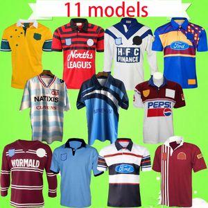 Rugby Ligi Formalar Retro Avustralya Sydney Ayı Bulldogs Fransa Highland Lanholton Manly Seahawks Manly SeaHawk Blues Maru Vintage Gömlek