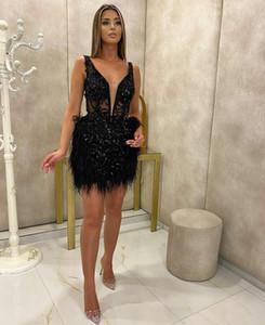 Black Crystal Beading Prom Dresses Deep V Neck Feather Evening Gowns Custom Made Formal vestidos de novia Robes