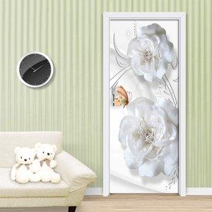 koigjh Door Stickers Embossed White Flowers Living Room Bedroom Door Wallpaper Self Adhesive PVC Imi
