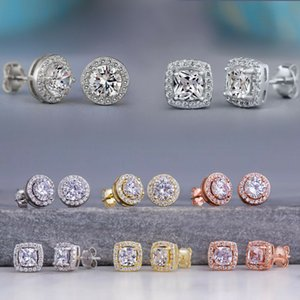 Fashion Luxury Round Square Diamond Zircon Earrings CZ Cubic Zirconia Stud Earrings for Women Men Simple Wedding Party Jewelry