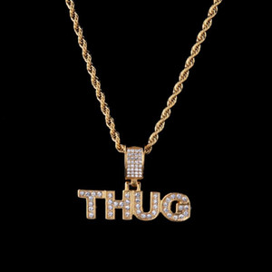 Hip Hop CZ Zircon Paved Bling Iced Out Letter THUG Men Pendant Necklace Gold Color Stainless Steel Alphabet Jewelry Dropshipping