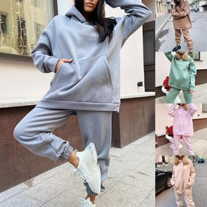 Ladies Fleece Fashion Two Piece Set Outfit Casual Sports Suit Hooded Pullover Solid Color Sweater Comfort Lounge Wear Tracksuits