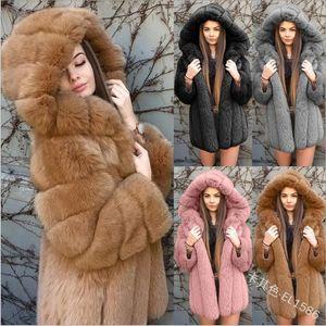 Faux Fur Coat Women Hooded Winter Casual Teddy Coat Autumn Pockets Plus Size Fur Jacket Fleece Fluffy Overcoat Outwear