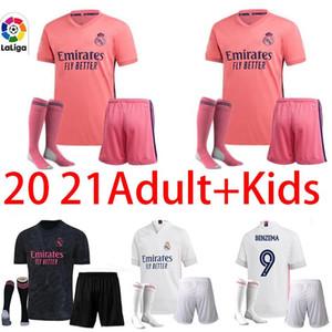 top adult +kids kit socks REAL MADRID soccer jersey 20 21 HAZARD SERGIO RAMOS BENZEMA VINICIUS 2020 2021 camiseta football shirt uniforms
