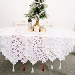 Christmas Table Runner Xmas Tree Star Merry Christmas Decorations for Home Table 2020 Ornaments New Year Party Decor