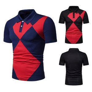 2019 New Summer Men's Diamond Check Color Matching Fashion Slim Fit Short Sleeve Polo Shirt
